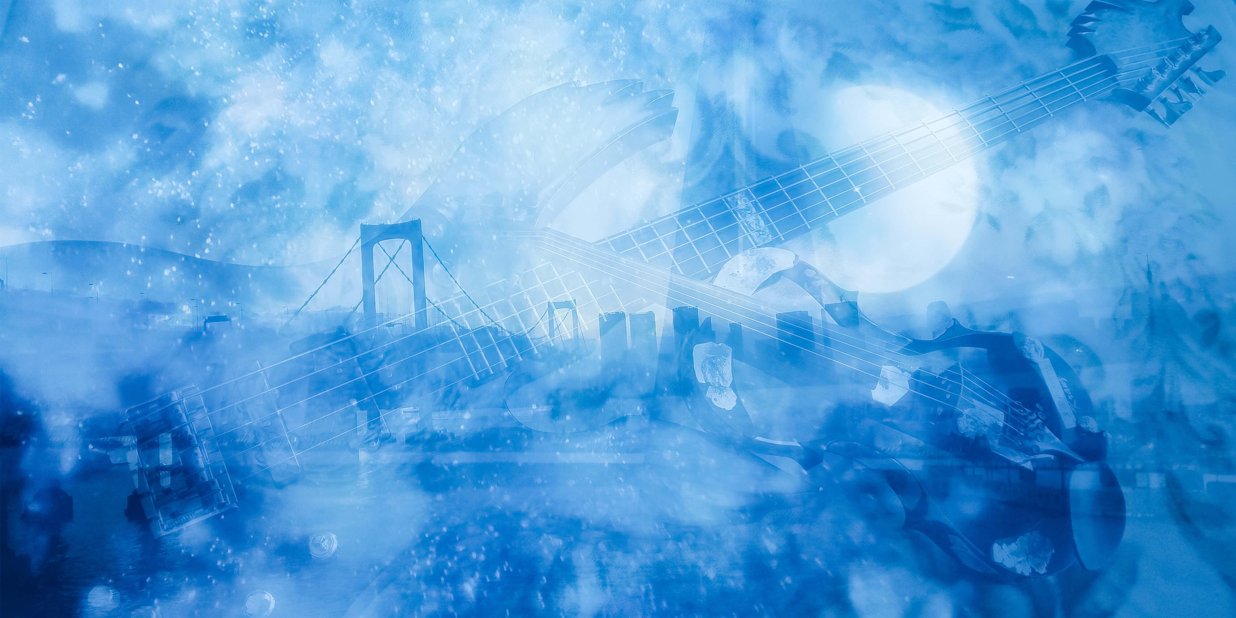 世にも珍しい5弦ベースとその風景画